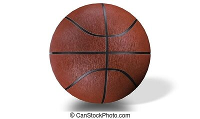 3D animation of excellent basketball ball spinning in slow...