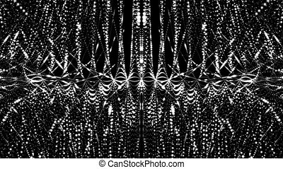 3D animation of festive silver futuristic abstract digital virtual reality matrix particles grid cyber space sci-fi and fantasy symmetry environment technology vj loop background