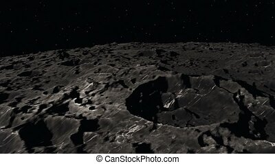 3D Animation of Flying over the Moon surface. View from a...