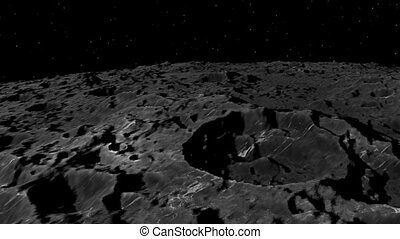 3D Animation of Flying over the Moon surface. View from a spaceship. Close up.
