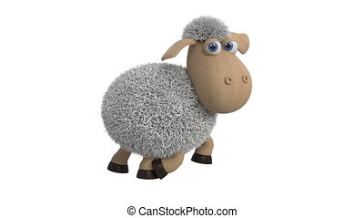 3d animation of funny white sheep - 3d animation of farm...
