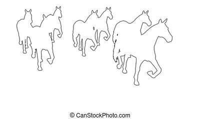 horses galloping - separated on white screen - 3d animation...