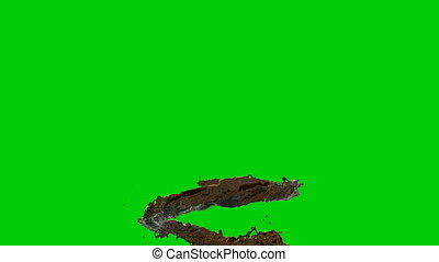 3D Animation of hot Chocolate Flow, Green Screen