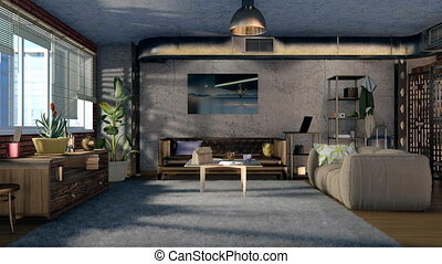3D animation of loft living room interior design 4K