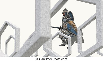 medieval knight fighting with swords and shield in abstract...
