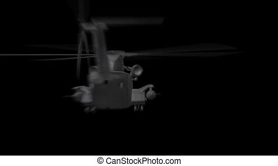 Military Helicopter Flies - 3D animation of Military...