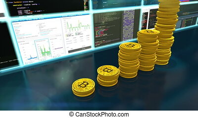 3D animation of mining bitcoins with moving camera
