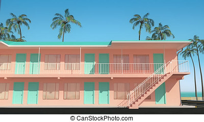 3D animation of motel buildings standing next to the beach with ocean view