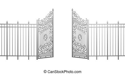 3d animation of opening and closing gates. Fence....