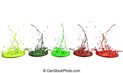 3d animation of paint splashes on a musical speaker that play music. 3d splashes of liquid. Paint bounce in 4k on white background. multicolor version 2