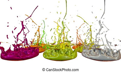 3d animation of paint splashes on a musical speaker that play music. 3d splashes of liquid. Paint bounce in 4k on white background. multicolor version 1