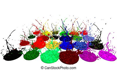 3d animation of paint splashes on a musical speaker that play music. 3d splashes of liquid. Paint bounce in 4k on white background. multicolor version 6