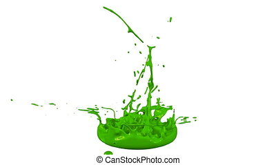 3d animation of paint splashes on a musical speaker that play music. 3d splashes of liquid. Paint bounce in 4k on white background. Green