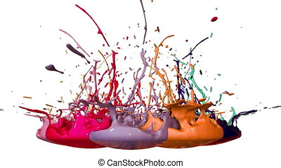 3d animation of paint splashes on a musical speaker that play music. 3d splashes of liquid. Paint bounce in 4k on white background. multicolor version 8