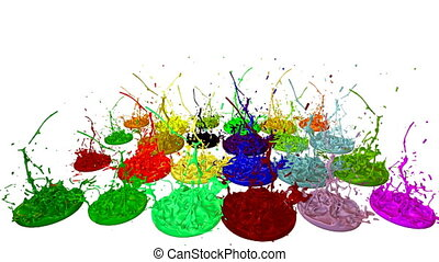 3d animation of paint splashes on a musical speaker that play music. 3d splashes of liquid. Paint bounce in 4k on white background. multicolor version 5