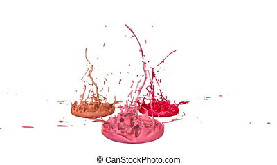 3d animation of paint splashes on a musical speaker that play music. 3d splashes of liquid. Paint bounce in 4k on white background. shades of warm colors 7