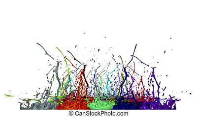 3d animation of paint splashes on a musical speaker that play music. 3d splashes of liquid. Paint bounce in 4k on white background. multicolor version 7