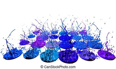 3d animation of paint splashes on a musical speaker that play music. 3d splashes of liquid. Paint bounce in 4k on white background. shades of cold colors 10