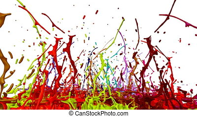 3d animation of paint splashes on a musical speaker that play music. 3d splashes of liquid. Paint bounce in 4k on white background. multicolor version 3