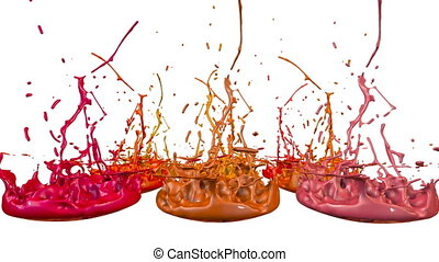 3d animation of paint splashes on a musical speaker that play music. 3d splashes of liquid. Paint bounce in 4k on white background. shades of warm colors 1