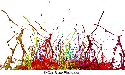 3d animation of paint splashes on a musical speaker that play music. 3d splashes of liquid. Paint bounce in 4k on white background. multicolor version 4