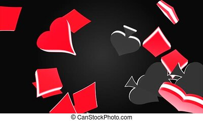 3d animation of poker spade, heart, club, diamond suit, falling down loop 4k animation Alpha Green Screen. for business, advertisement, Gambling, Chips, Poker, Betting, King, Queen, Casino coins.