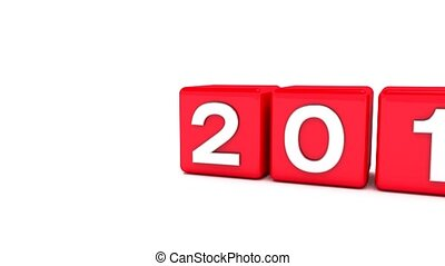 3d animation of red cubes with 2017 - 2018 - represents the new year 2018.