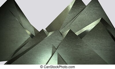 3d animation of rotating metal gold pyramids