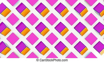 3D animation of rotating plastic cubes on white background. 3D rendering. Loopable.