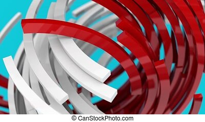 3D animation of rotating red and white blocks on blue background. 3D rendering. Loopable.
