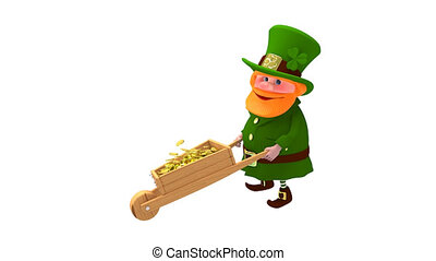 3D Animation of Saint Patrick and with Cart with Alpha ...