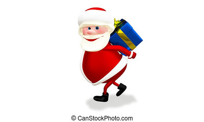 3D Animation of Santa with a Blue Gift with Alpha Channel