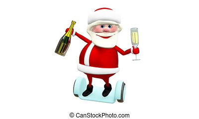 3D Animation of Santa with Champagne on Electric Scooter