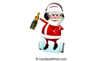 3D Animation of Santa with Champagne on Scooter in the Headphones