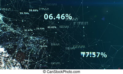 3d animation of the Abstract Global Business Network with Flying Numbers, Dots and Lines. Digital Technology Concept. Looped. HD 1080.