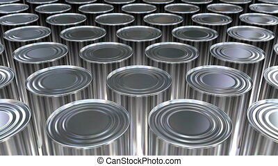 3D animation of the canned food - Canned food mass...