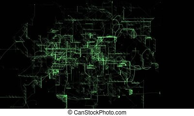 3D animation of the digital network. No background