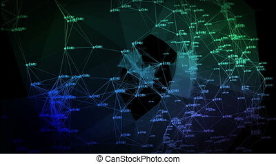 3d animation of the digital network  with numbers. Business concept.