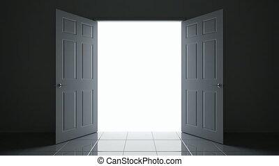 3D animation of the doorway - 3D animated open doors camera...