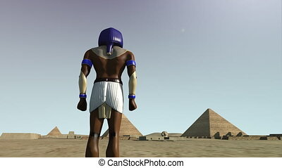 3D animation of the Giza platform Egypt and the god Horus -...