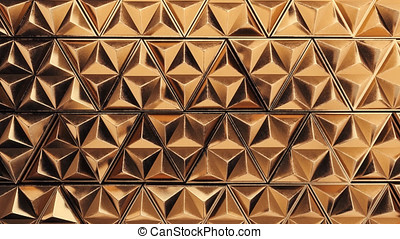 3D animation of the golden wall made of moving triangles. -...