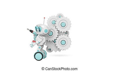 3D Animation of the Little Robot and the Mechanism with Alpha Channel
