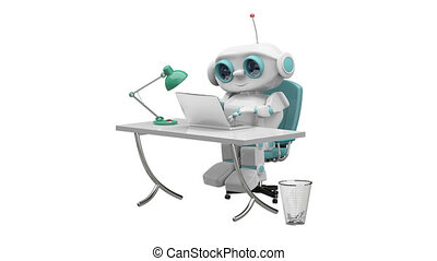 3D Animation of the Little Robot Behind the Table with Alpha Channel