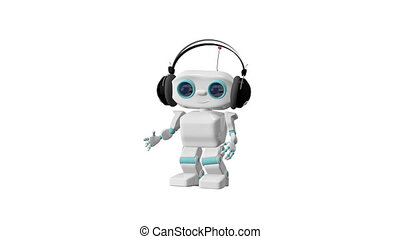 3D Animation of the Little Robot Dances in the Headphones Alpha Channel