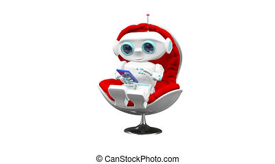 3D Animation of the Little Robot In the Armchair with Alpha Channel