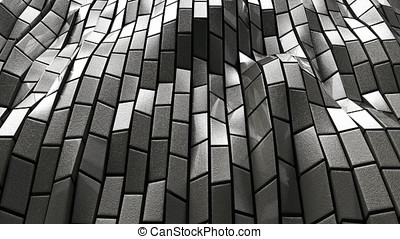 3D animation of the wall made of moving stone blocks. - A...