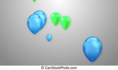 3D Animation of Vibrant Flying Blue Balloons white Background Loop Alpha Channel.