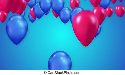 3D Animation of Colorful Vibrant Flying Blue Red Balloons over white Background Loop Alpha Channel. CGI Birthday, Valentines, Wedding Anniversary, Holidays and Celebrations