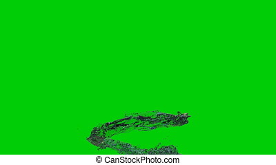 3D Animation of Water Flow, Green Screen