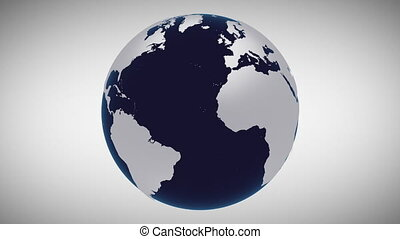 3d animation planet Earth globe model appears and rotates - ...
